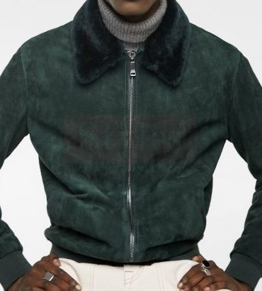 Suede Jacket with Faux Fur Collar Fashion Collection Free Shipping