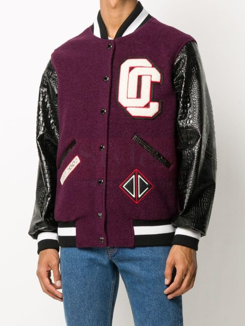 Varsity patch-embellished bomber jacket Fashion Jackets Free Shipping