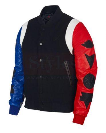 AIR JORDAN DNA VARSITY JACKET (BLACK / RED / BLUE) Fashion Jackets Free Shipping