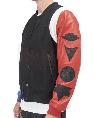 AIR JORDAN DNA VARSITY JACKET (BLACK / RED / BLUE) Fashion Jackets Free Shipping