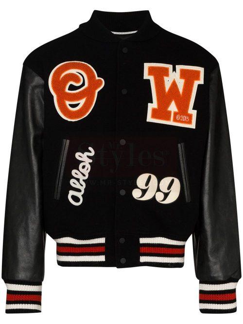 logo-appliqued varsity jacketlogo-appliqued varsity jacket Fashion Jackets Free Shipping