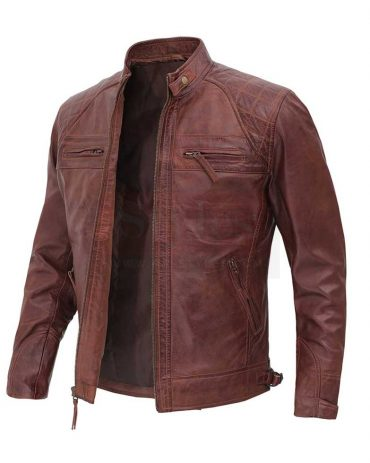 Distressed Brown Leather Jacket for Men Fashion Jackets Free Shipping