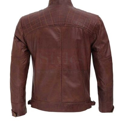Distressed Brown Leather Jacket for Men Fashion Collection Free Shipping