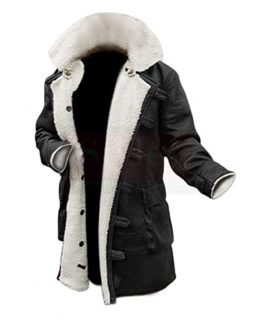 Black Winter Shearling Coat Shearling Bomber Jackets Free Shipping