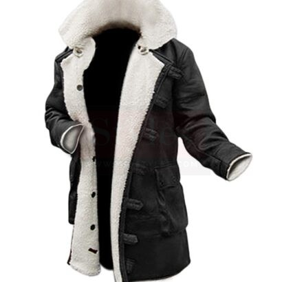Black Winter Shearling Coat Shearling Bomber Jackets Free Shipping
