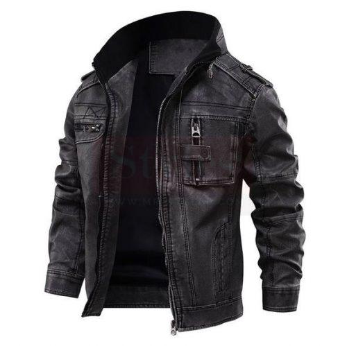 Jasper Black Distressed Leather Cafe Racer Jacket Fashion Jackets Free Shipping