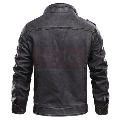 Jasper Black Distressed Leather Cafe Racer Jacket Fashion Collection Free Shipping