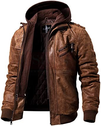 FLAVOR Men Brown Leather Motorcycle Jacket MotoGP Leather Jackets Free Shipping