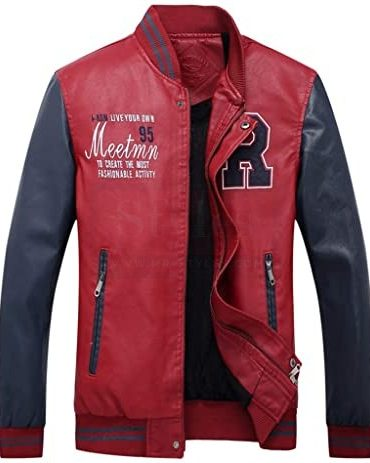 Faux Leather Jackets Stand Collar with Pockets Motorbike Jackets Free Shipping