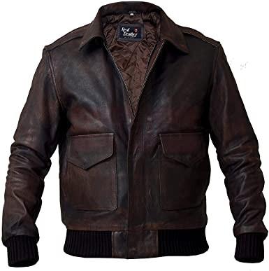 Biker Vintage Distressed Flight A2 Leather Jacket Fashion Jackets Free Shipping