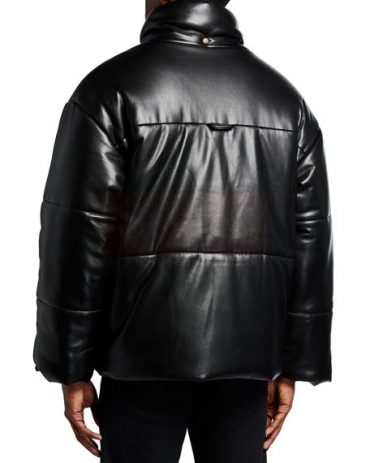 Men's Black Mr.Styles -Leather Puffer Jacket Puffer Jackets Free Shipping