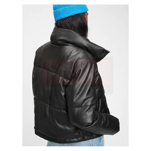 Poly-fill Lamb leather Puffer Jacket Puffer Jackets Free Shipping
