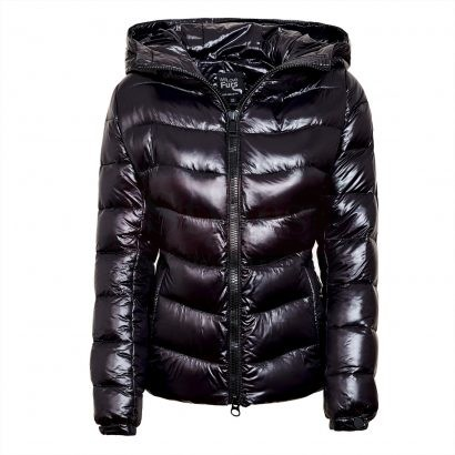 "Puffer Jacket with Fur Hood ""IceBlack"" Puffer Jackets Free Shipping"