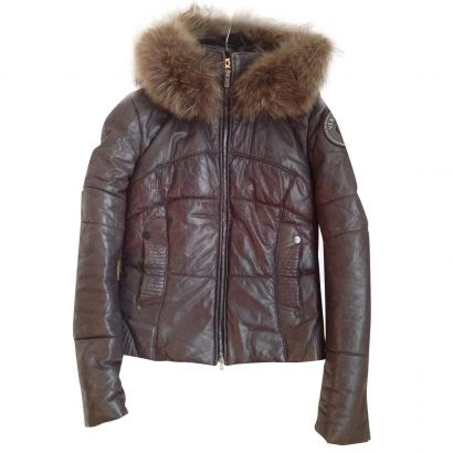 Lamb Leather Puffer Jacket Fur Hood Puffer Jackets Free Shipping