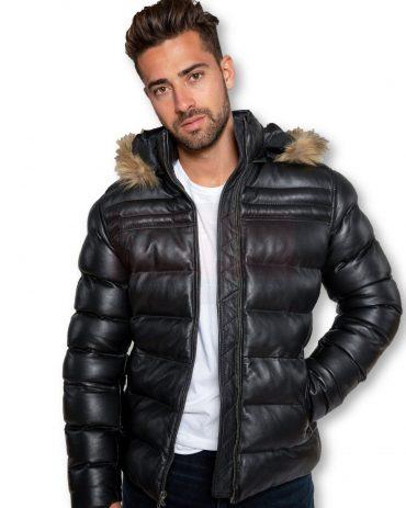 Lamb Leather Puffer Jacket  Fur Hood Puffer Jackets Free Shipping