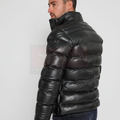 winter puffer leather jacket with fur Puffer Jackets Free Shipping