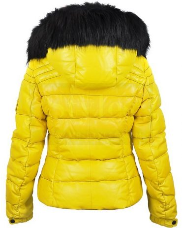 Yellow Leather Puffer Jacket Fur Hood Puffer Jackets Free Shipping