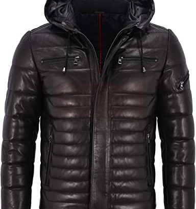 Men's Real Leather Jacket Puffer Hooded Fashion Collection Free Shipping