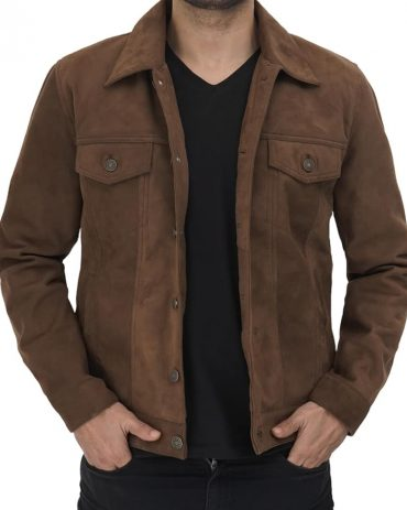Gilbert Men Brown Suede Leather Trucker Jacket Western Jacket Free Shipping
