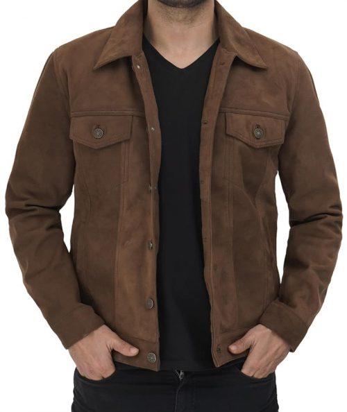 Gilbert Men Brown Suede Leather Trucker Jacket Western Jacket Free Shipping