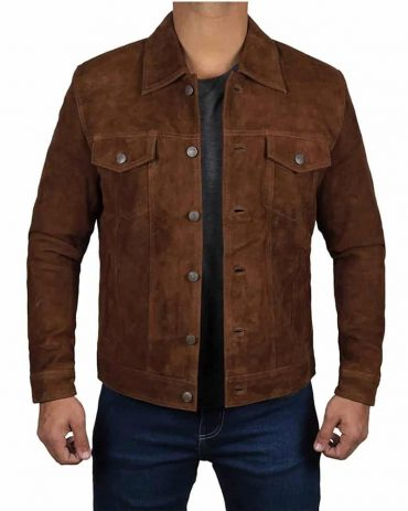 Dark Brown Trucker Shirt Collar Suede Jacket Mens Western Jacket Free Shipping