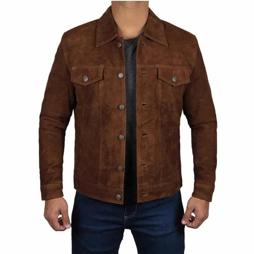 Dark Brown Trucker Shirt Collar Suede Jacket Mens Western Jacket Free Shipping