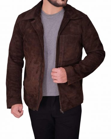 Men's Dark Brown Suede Leather Jacket Western Jacket Free Shipping