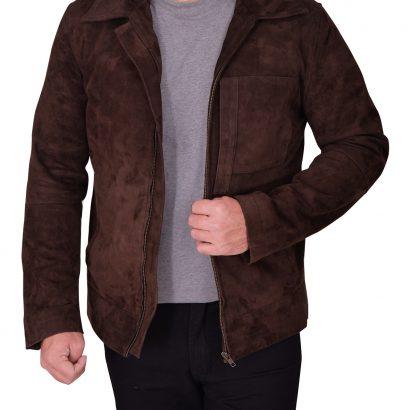 Men's Dark Brown Suede Leather Jacket Western Jacket Free Shipping