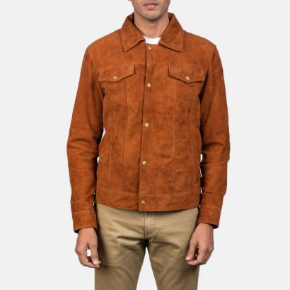 Stallon Brown Suede Jacket For Men's Western Jacket Free Shipping