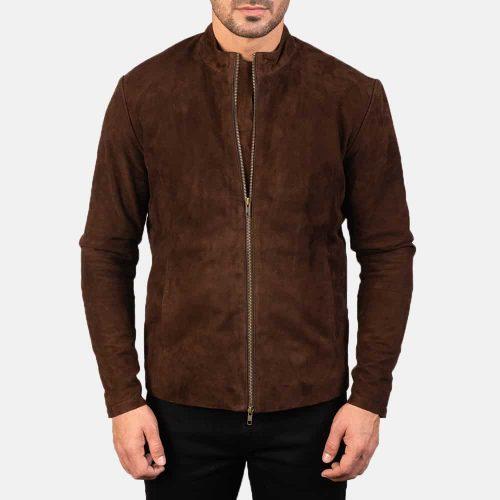 Dark Brown Cowboy Suede Biker Jacket Western Jacket Free Shipping
