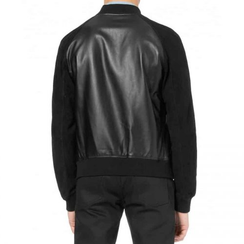 Men's Suede Sleeves Black Bomber Leather Jacket Western Jacket Free Shipping