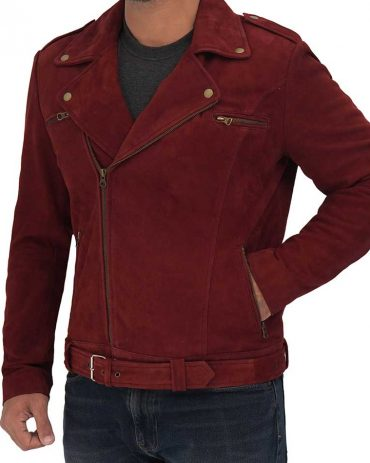 Sean Mens Suede Leather Biker Maroon Jacket For Men's Western Jacket Free Shipping
