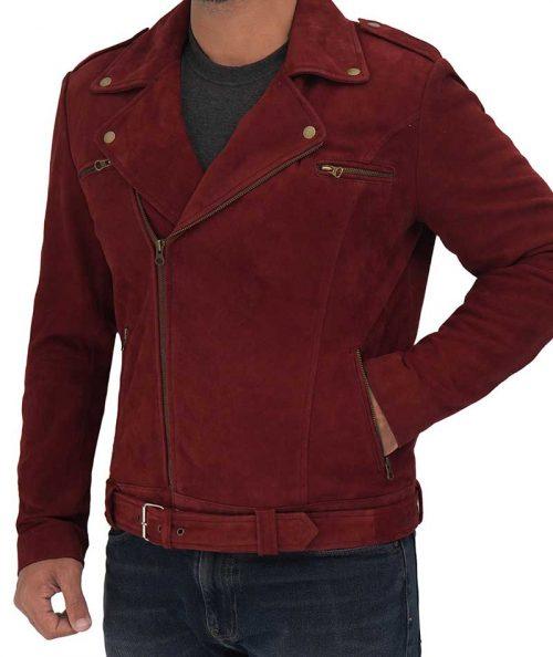 Sean Mens Suede Leather Biker Maroon Jacket For Men's Western Jacket Free Shipping
