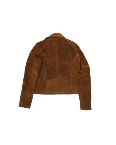 Ladies Suede Brwon Biker Jacket Western Jacket Free Shipping