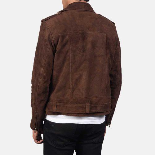 Men's Dark Brown Suede Western Biker Jacket Western Jacket Free Shipping