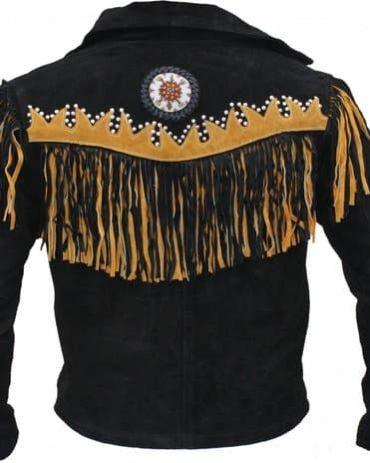 Men's Western Wear Cowboy Coat Fringe Bead & Bones Western Jacket Free Shipping