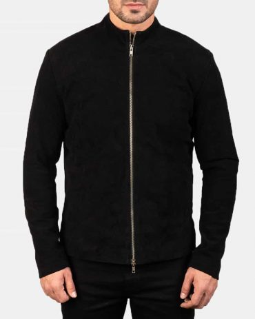 Charcoal Black Suede Biker Jacket Western Jacket Free Shipping