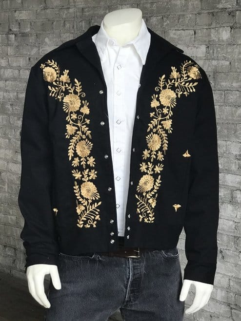 Men's Vintage Jackets with Gold Floral Embroidery Western Jacket Free Shipping