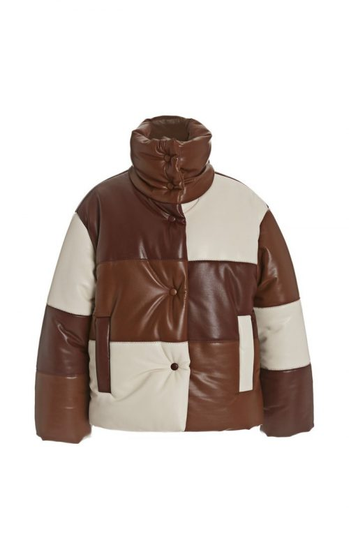 Luxury Style Lamb Brown Leather Puffer Jacket Puffer Jackets Free Shipping
