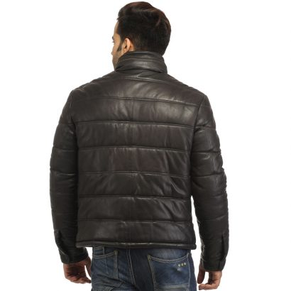 Men's Real Soft Lamb Leather Puffer Jacket Puffer Jackets Free Shipping