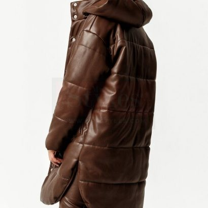 Detachable Hooded Leather Puffer Jacket Puffer Jackets Free Shipping
