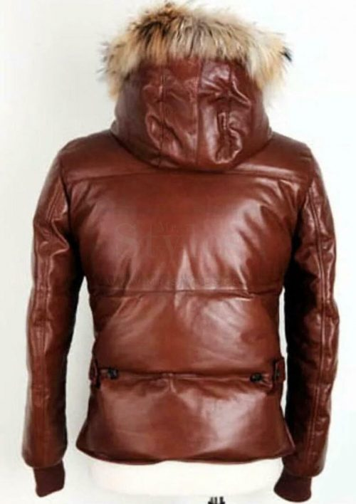 Bomber Fur Hoodie Leather Puffer Jacket Men Puffer Jackets Free Shipping