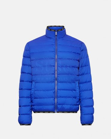 Blue Shiny Leather Puffer Jacket Puffer Jackets Free Shipping