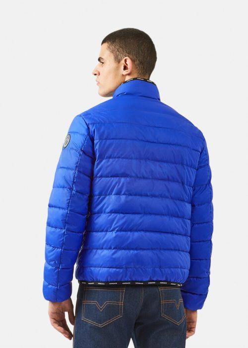 Blue Shiny Leather Puffer Jacket Puffer Jackets Free Shipping