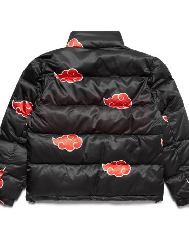 Red and Black Leather Puffer Jacket Puffer Jackets Free Shipping