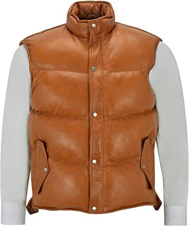 Men's Lamb Puffer Leather Waistcoat Puffer Jackets Free Shipping