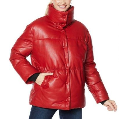 High Collar Leather Puffer Jacket Puffer Jackets Free Shipping