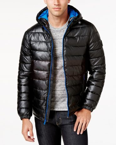 Men's Hide Vegan-Genuine Leather Puffer Jacket Puffer Jackets Free Shipping