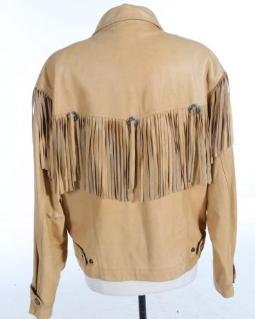 Men's Western Cowboy Leather Jacket Fringe and Beaded Western Jacket Free Shipping