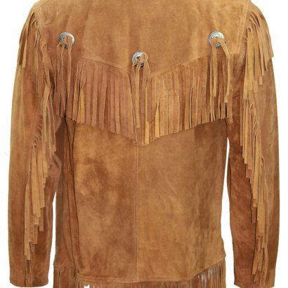 Cowboy Western Leather Coat Fringes Beads Western Jacket Free Shipping